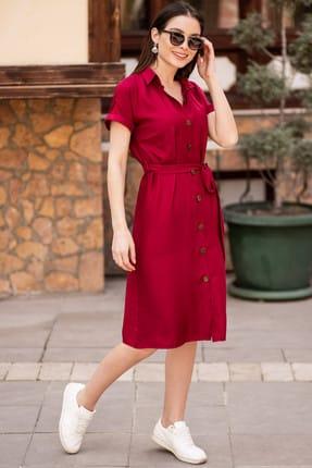 armonika Kadın Bordo Beli Kemerli Kısa Kol Gömlek Elbise ARM-19Y001068