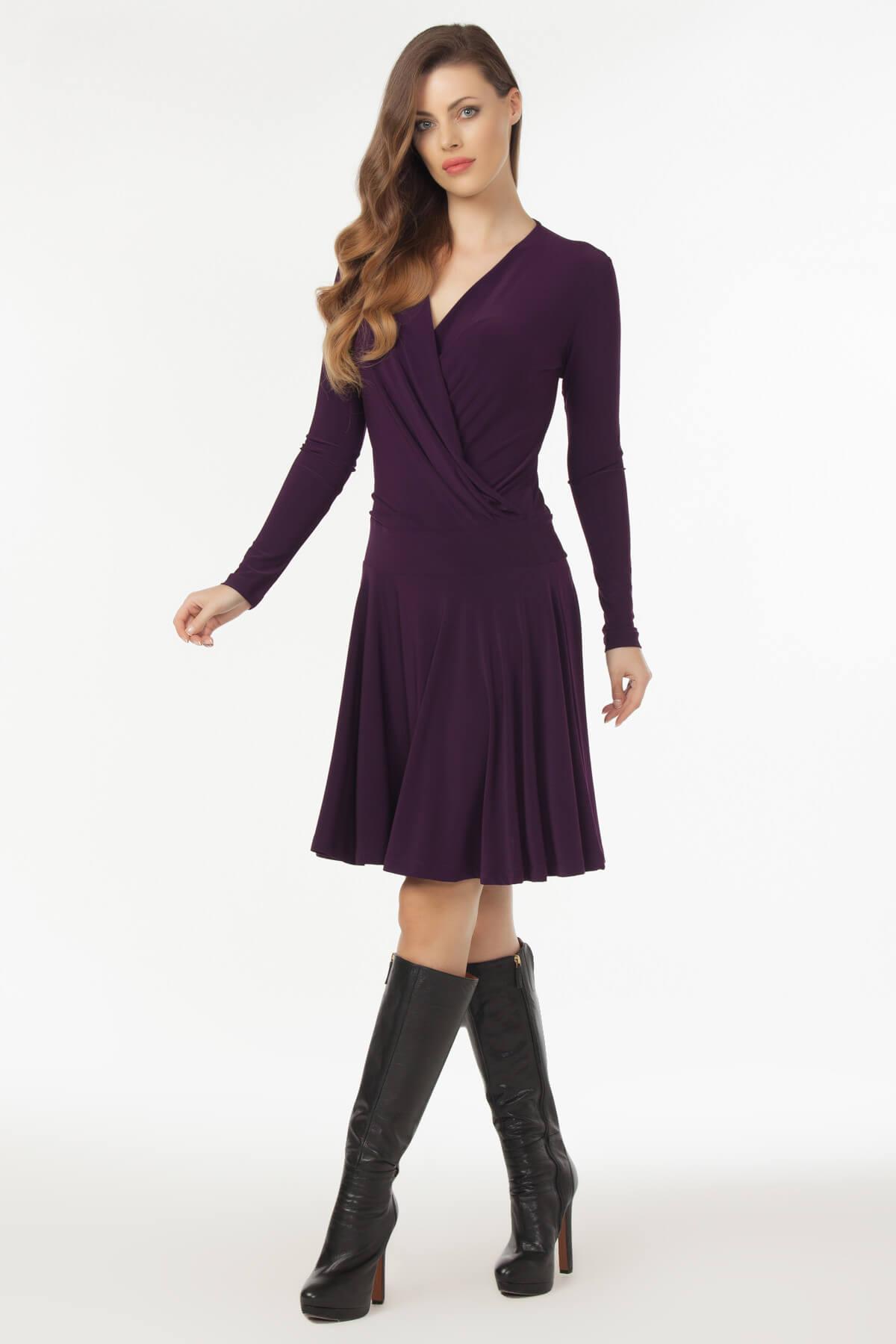 Laranor Kadın Mürdüm Kruvaze Yaka Elbise 19L6440 2