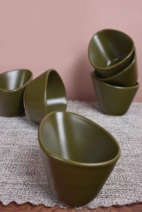 Keramika Mat Koyu Yeşil Miska Çerezlik / Sosluk 12 Cm 6 Adet