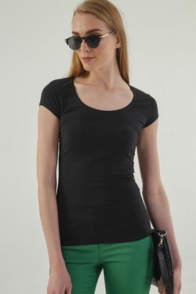 Jument Kadın Siyah Monalisa Balen Yaka Kısa Kol T-Shirt 5610