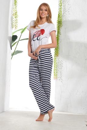 GİZZEY Kadın Beyaz Baskılı Pantolon Takım