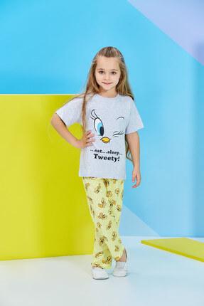 TWEETY Lisanslı Karmelanj Kız Çocuk Pijama Takımı