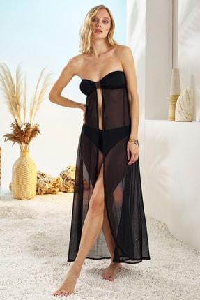 Pierre Cardin Kadın Siyah Straplez Elbise Pareo