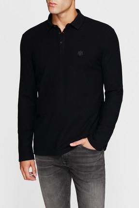 Mavi Uzun Kollu Siyah Polo Tişört