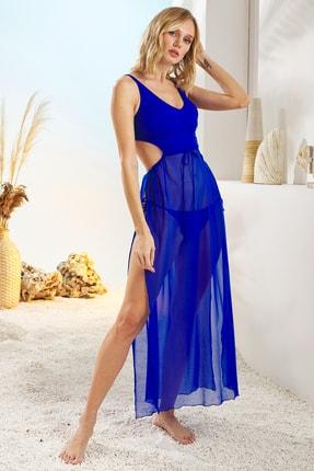Pierre Cardin Kadın Sax Bel Dekolteli Pareo Elbise