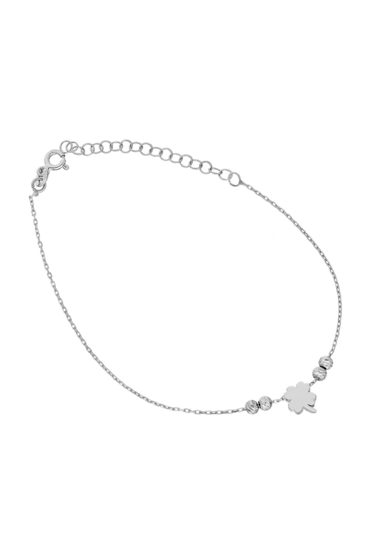 Glorria Kadın Gümüş Yonca Halhal DT0539 1