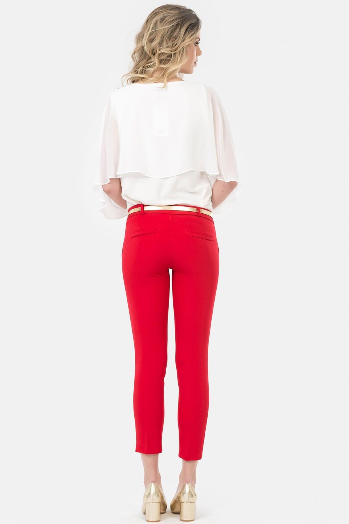 İroni Kadın Kırmızı Kemerli Dar Paça Pantolon 1581-891A 2