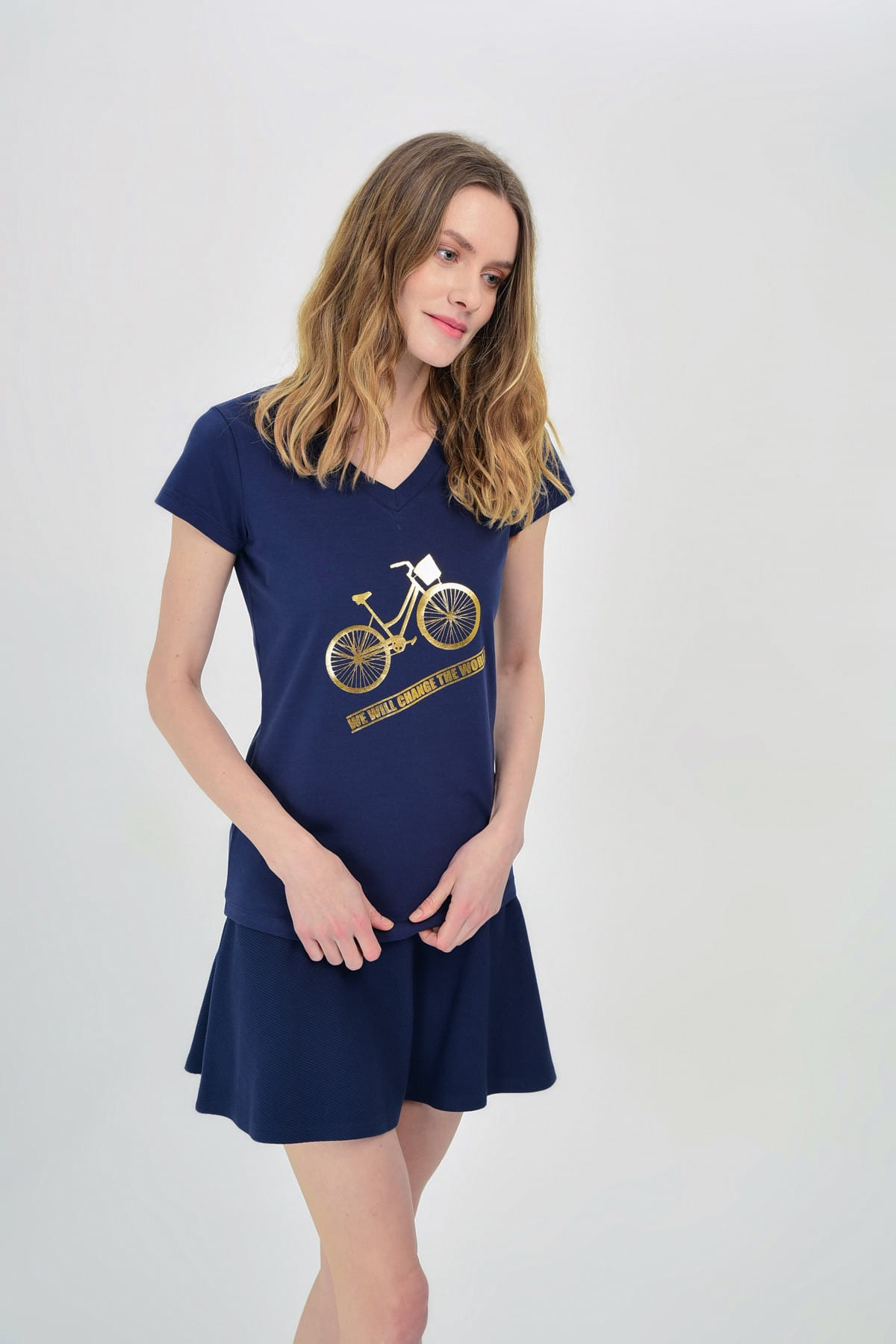 Hanna's by Hanna Darsa Kadın Lacivert Bisiklet Baskılı T-Shirt Hn1308 1