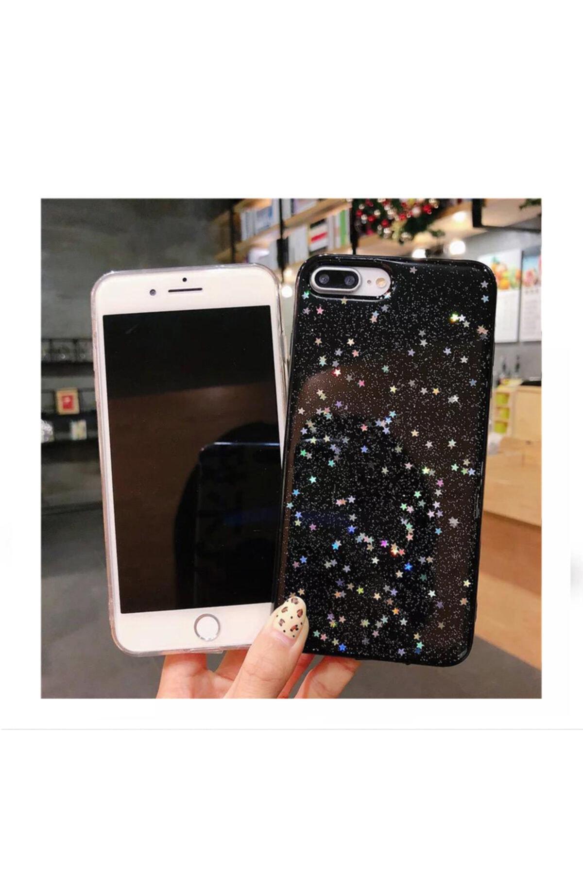 Kılıfsiparis Iphone 7 Plus 8 Plus Uyumlu Siyah Simli Silikon Telefon Kılıfı 2