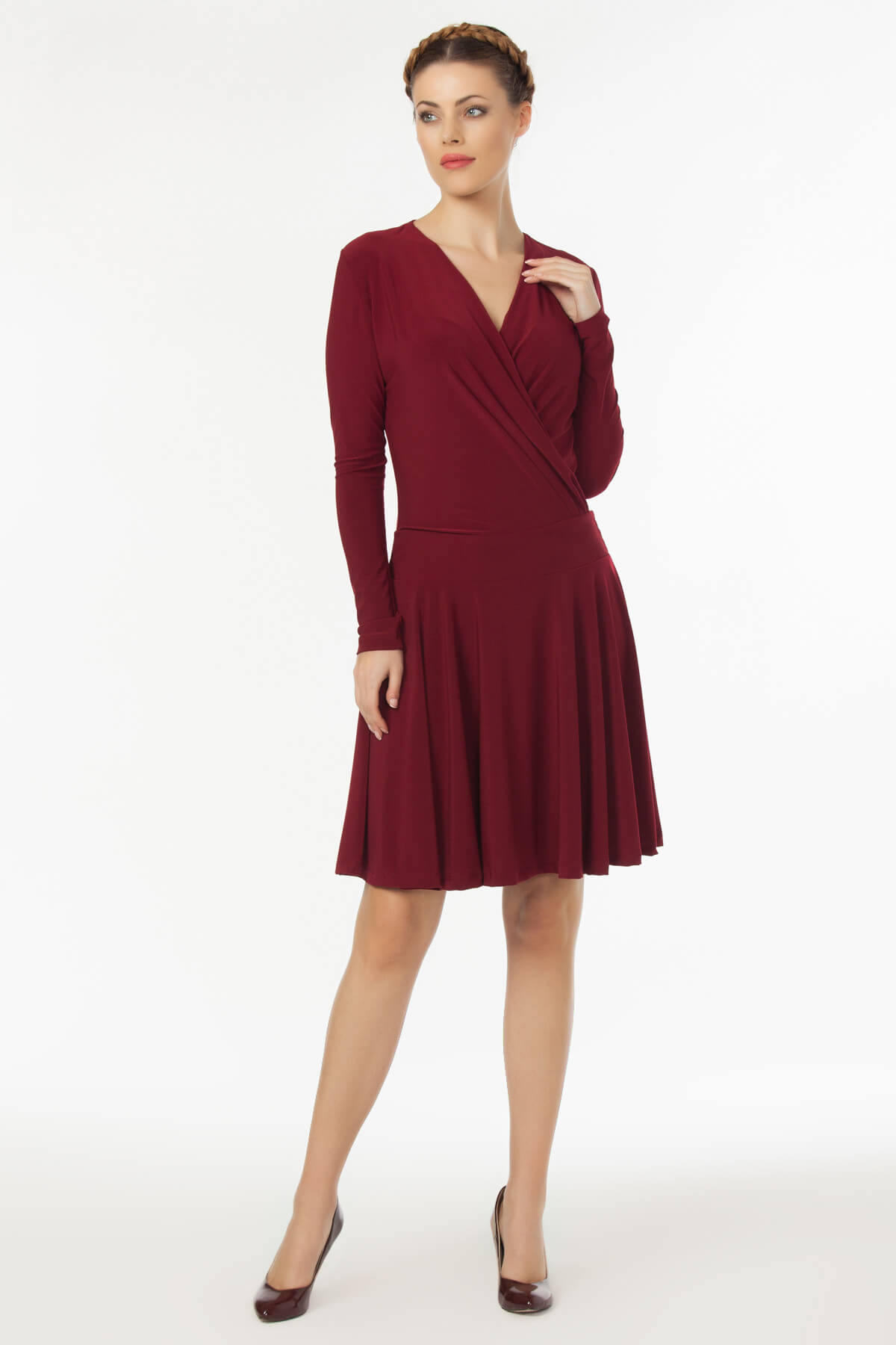 Laranor Kadın Bordo Kruvaze Yaka Elbise 19L6440 2