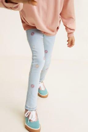 MANGO Kids Mavi Kız Çocuk Çiçek işlemeli skinny jean pantolon