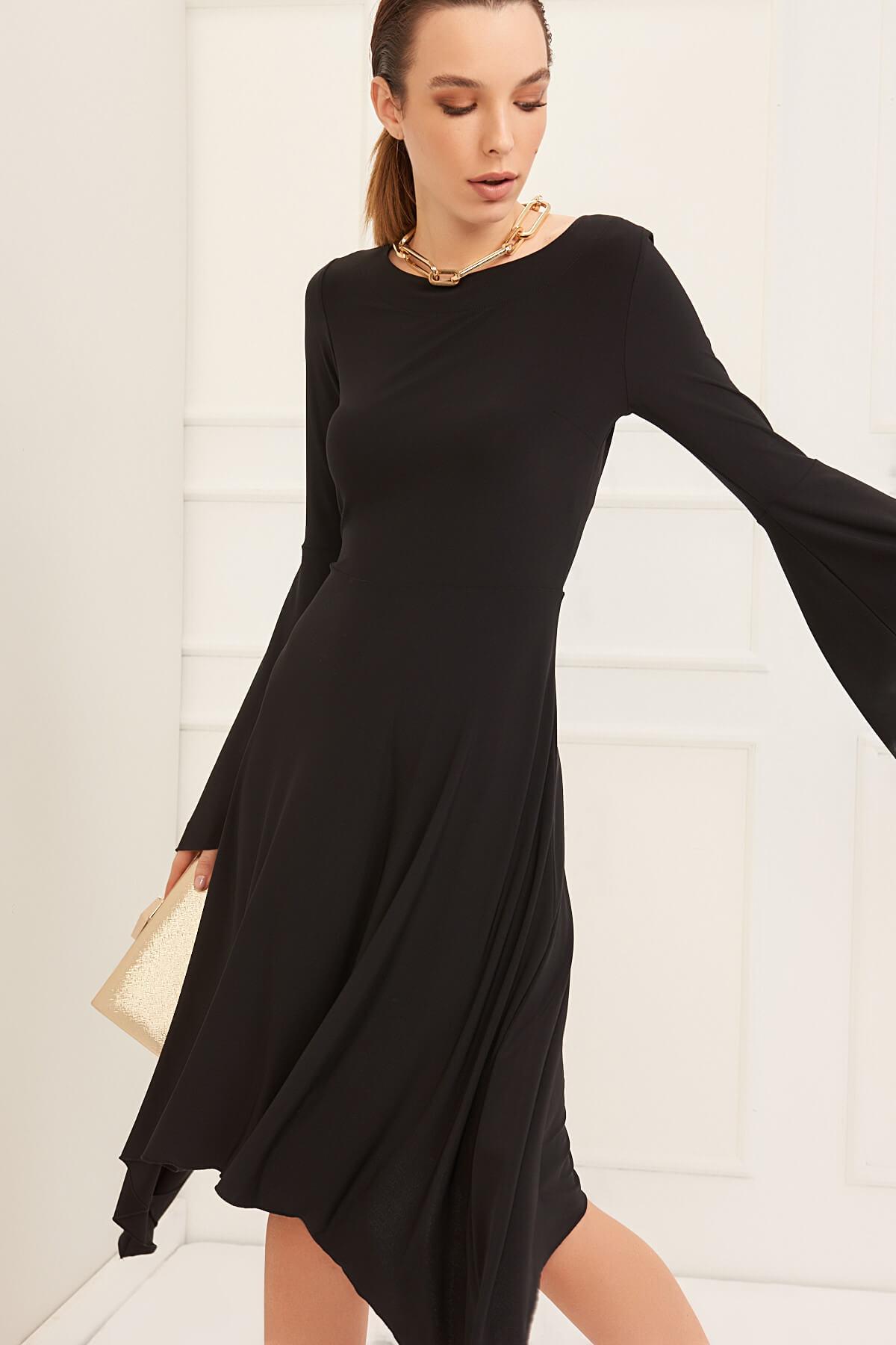 Laranor Kadın Siyah Asimetrik Kesim Elbise 19L6477 1