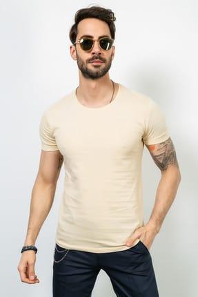 Sateen Men Erkek Bej Bisiklet Yaka T-Shirt - 102-18202. 102-18202