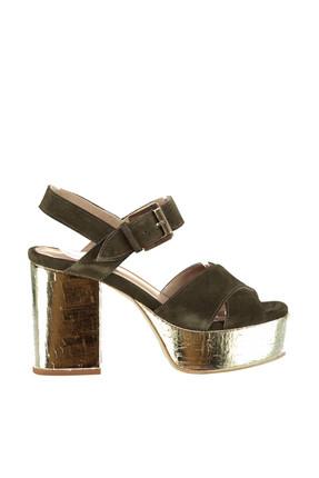 Derimod Hakiki Deri Haki Kadın Topuklu Ayakkabı