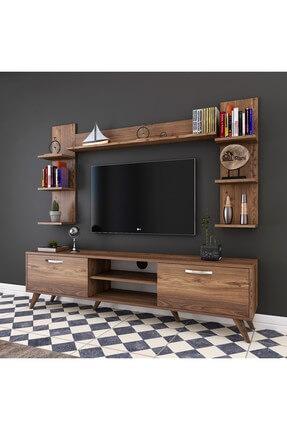 Rani Mobilya A9 Duvar Raflı Kitaplıklı Tv Ünitesi Duvara Monte Dolaplı Modern Ayaklı Tv Sehpası Ceviz M23