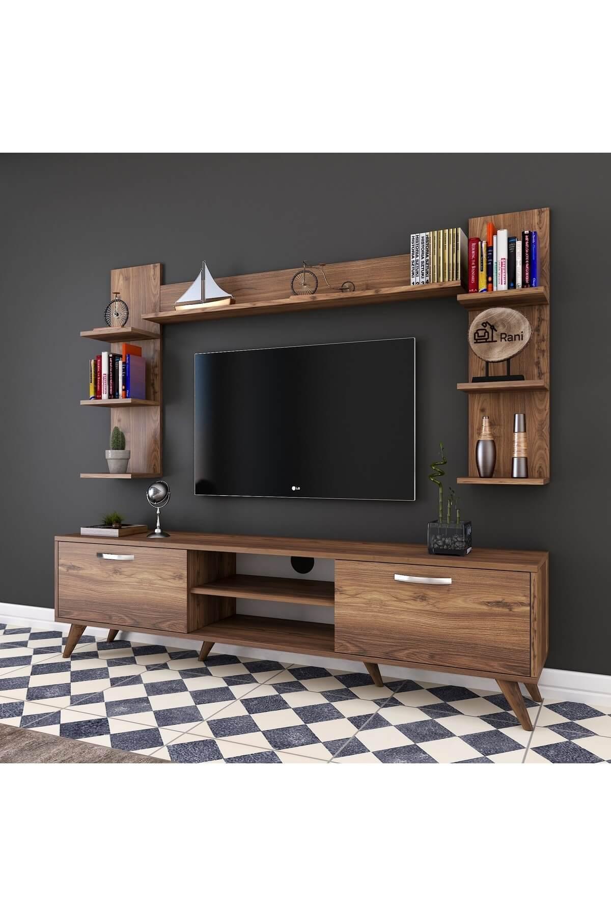 Rani Mobilya A9 Duvar Raflı Kitaplıklı Tv Ünitesi Duvara Monte Dolaplı Modern Ayaklı Tv Sehpası Ceviz M23 1