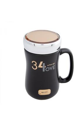 Karaca Love Siyah Kapaklı Kahve Kupası
