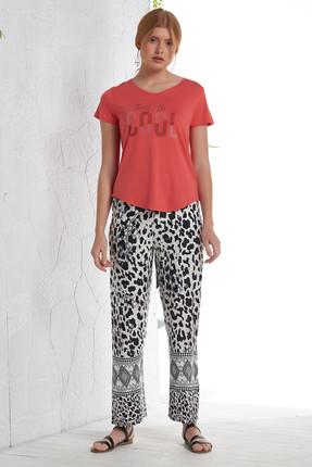 GİZZEY Kadın Nar Çiçeği Taş Baskılı Sırt Detaylı Pantolon Takım