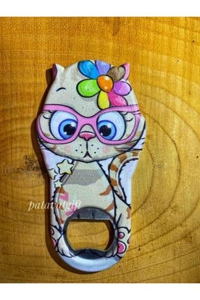 Patavat Süslü Kedi Buzdolabı Magneti & Kapak Açacağı