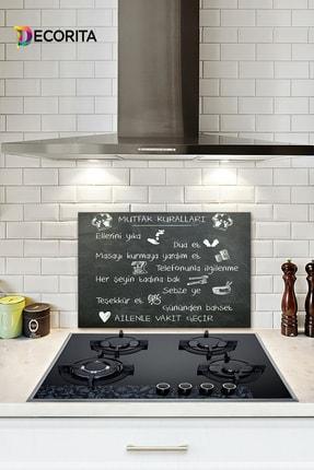 Decorita Mutfak Kuralları - Kara Tahta Görünümlü | Cam Ocak Arkası Koruyucu | 40cm X 60cm