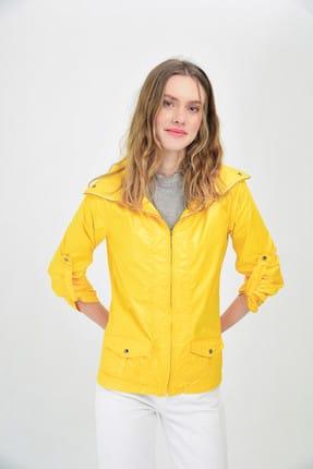 Hanna's by Hanna Darsa Kadın Sarı Cep Ve Ayarlanabilir Kollu Yağmurluk Hn1462