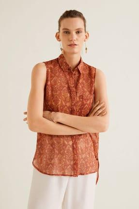 MANGO Woman Kadın Yanık Turuncu Göğsü Cepli Desenli Bluz 43057811