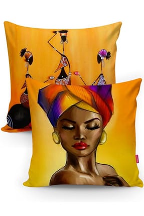 Realhomes Afrika Motifli Dekoratif 2'li Kırlent Kılıfı Seti