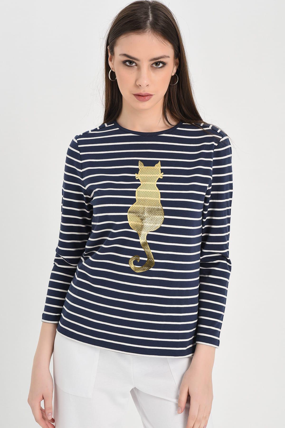 Hanna's by Hanna Darsa Kadın Lacivert-Beyaz Lacivert-Beyaz Çizgili Uzun Kollu Kedi Baskılı Bluz Hn1294 2