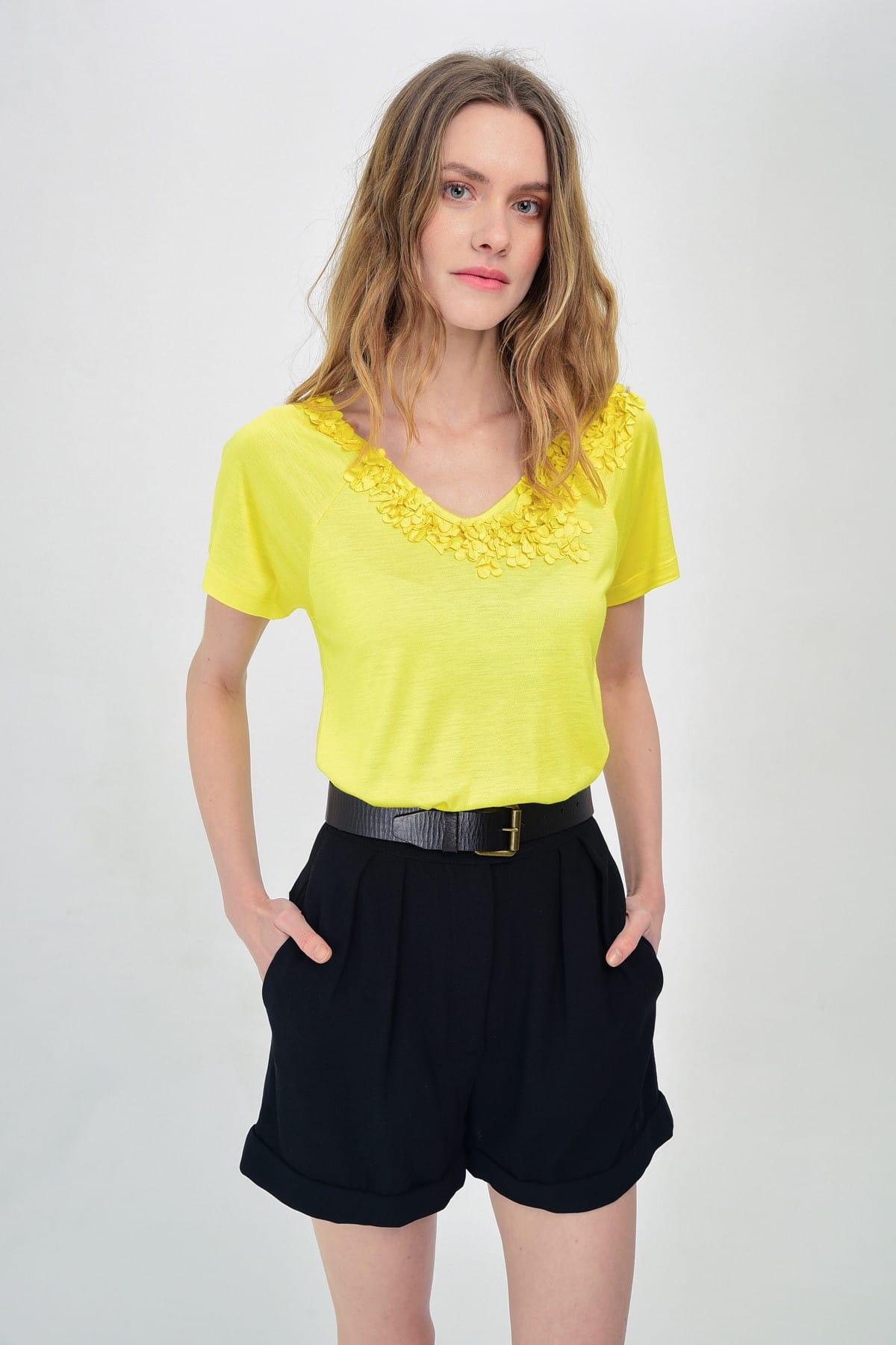 Hanna's by Hanna Darsa Kadın Sarı Çiçek Detaylı Kısa Kollu T-Shirt Hn1489 1