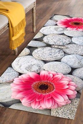 Else Halı 100X200 Else Hali Pembe Çiçekli 3D 3 Boyutlu Dekoratif Modern Yolluk