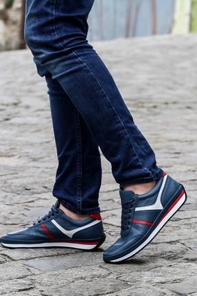 FAST STEP Hakiki Deri Kot Mavi Erkek Sneaker