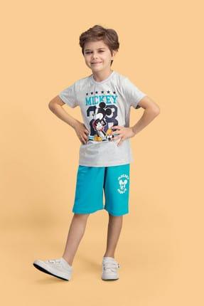 Mickey Mouse Erkek Çocuk Açık Gri Lisanslı Bermuda Takım D4122-c-v1