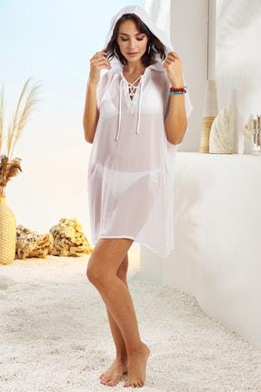 Pierre Cardin Kadın Beyaz Kapşonlu Tunik Pareo 211810