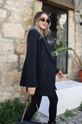 Moda Bu Kadın Siyah Düğme Detaylı Blezer Ceket