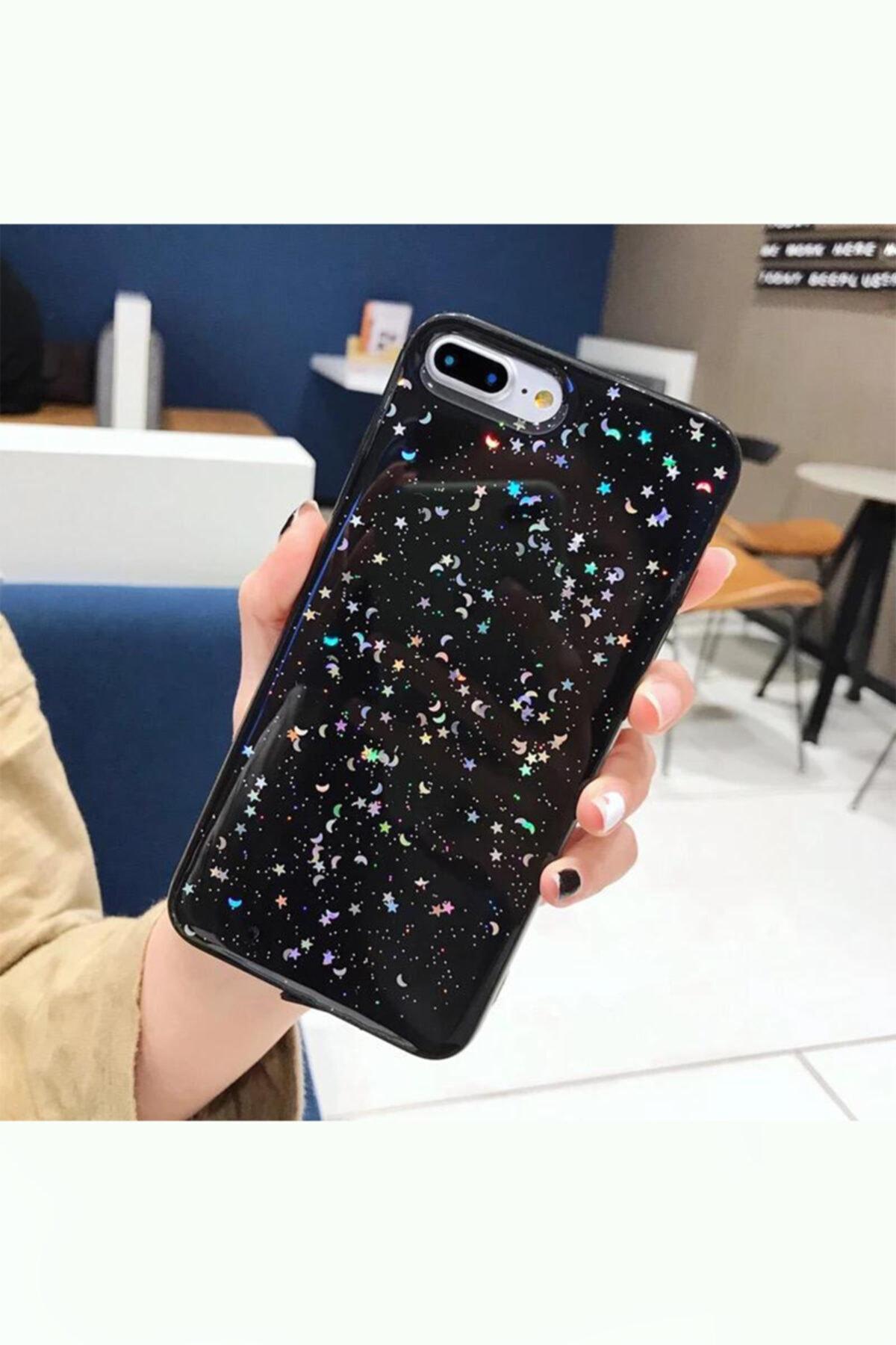 Kılıfsiparis Iphone 7 Plus 8 Plus Uyumlu Siyah Simli Silikon Telefon Kılıfı 1