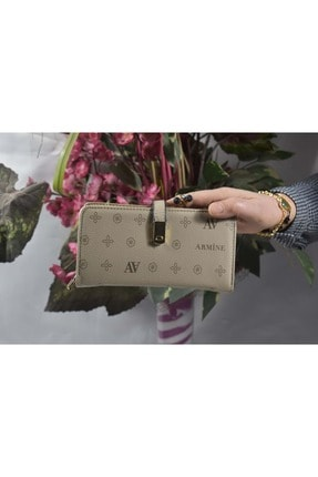 Armine C 02 Kadın Baskılı Küçük Boy El Çanta&cüzdan - Vizon - Tek Ebat
