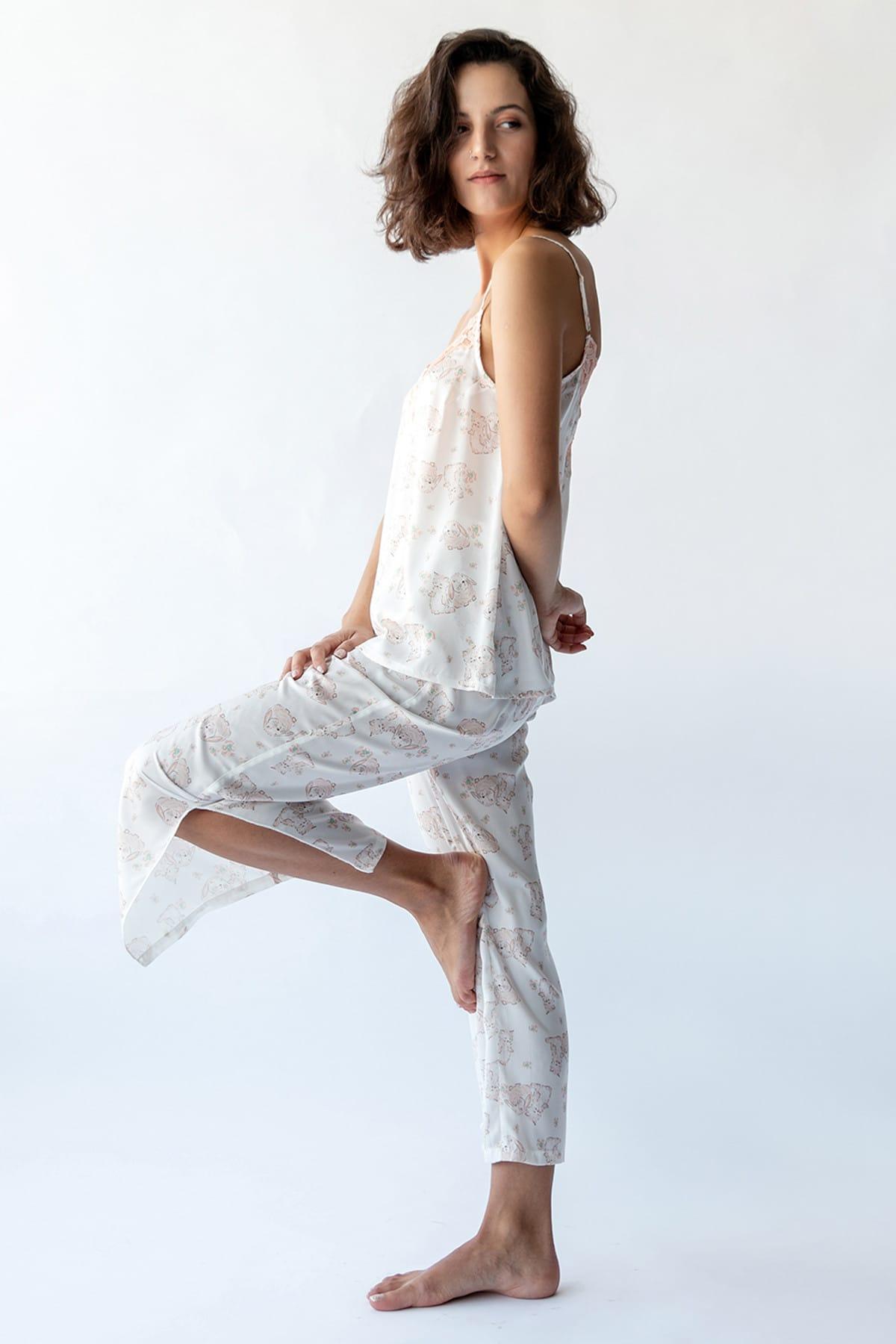 Hays Kadın Somon Baskılı Paçası Yandan Yırtmaç Detaylı Saten Pijama Altı 1