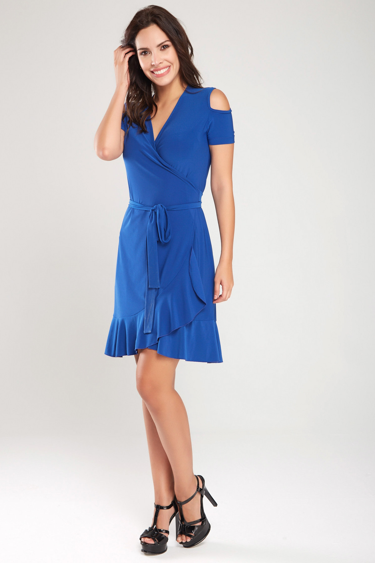 Laranor Kadın Saks Kruvaze Kesim Elbise 18L6251 2