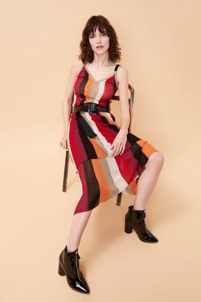 İpekyol Kadın Fuşya Katmanlı Çizgi Örme Elbise IS1190002170004