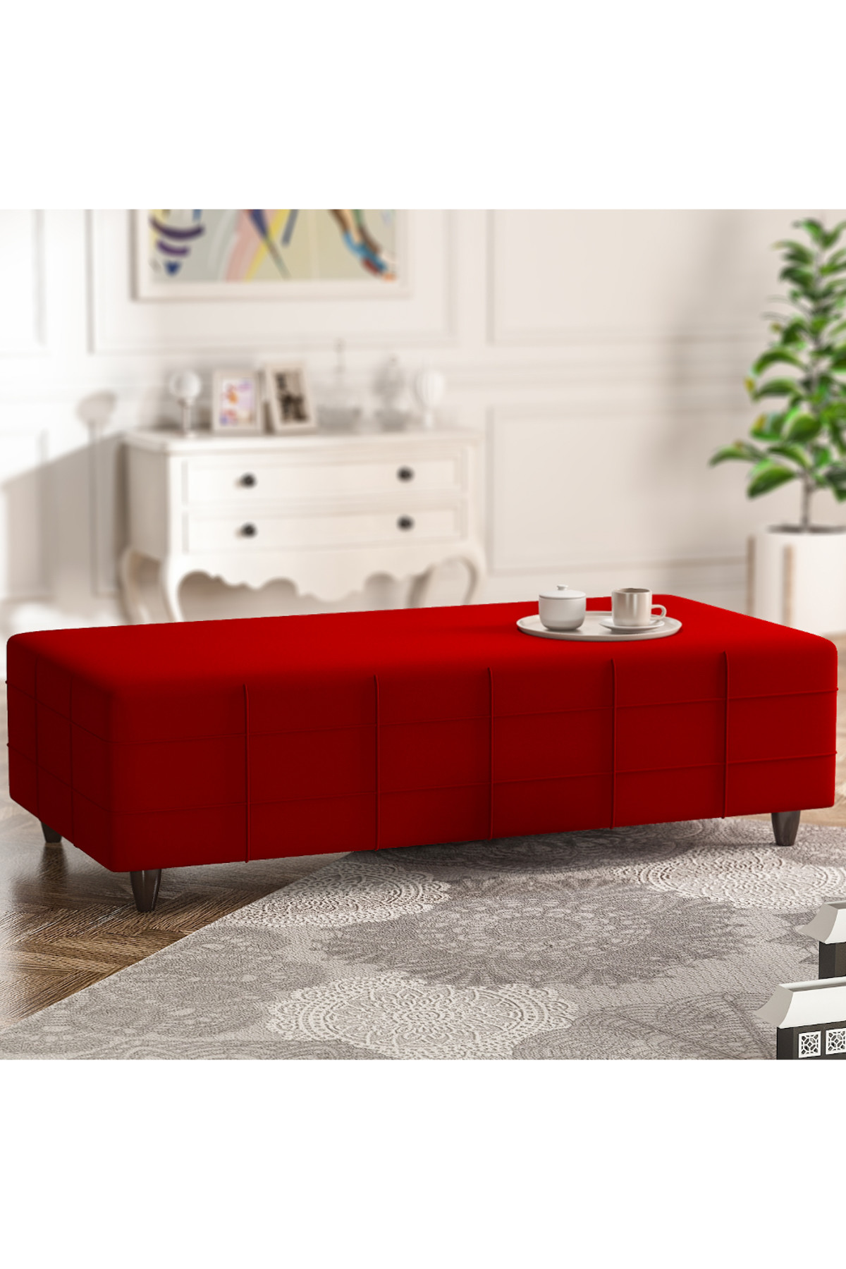 Evdemo Hilal Delüx Puf Kırmızı 1
