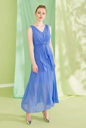 Journey Kadın Mavi Ön-Arka V Yaka Bel Üstü Gold Toka Detaylı Asimetrik Parçalı Uzun Abiye Elbise 19YELB150