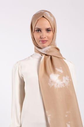 Akel Ekru Batik Desenli Premium Pamuk Şal 80 x 190 cm AKEL 001-422