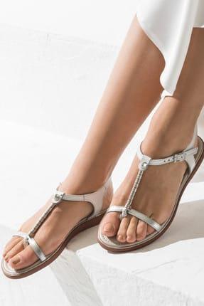 Elle Shoes ALESON Hakiki Deri Gümüş Kadın Sandalet