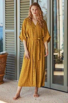Penyemood Kadın Hardal Önden Düğme Detaylı Elbise PM8527-LACIVERT-M