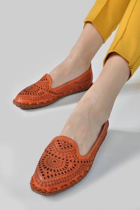 Vizon Ayakkabı Hakiki Deri Turuncu Kadın Ayakkabı 147318