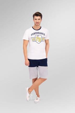 Fenerbahçe Lisanslı Beyaz Erkek Bermuda Takım
