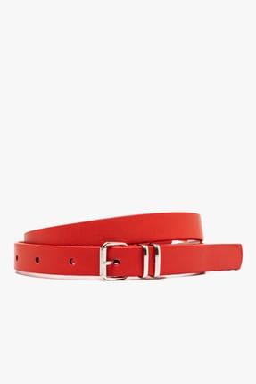 Koton Kadın Kırmızı Deri Görünümlü Kemer