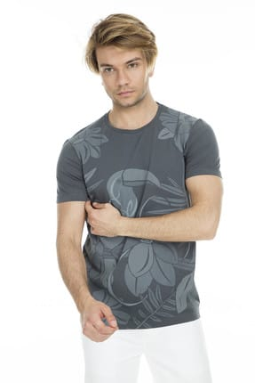 Lufian Erkek Hipo Modern Grafik T- Shirt Haki 111020012100630