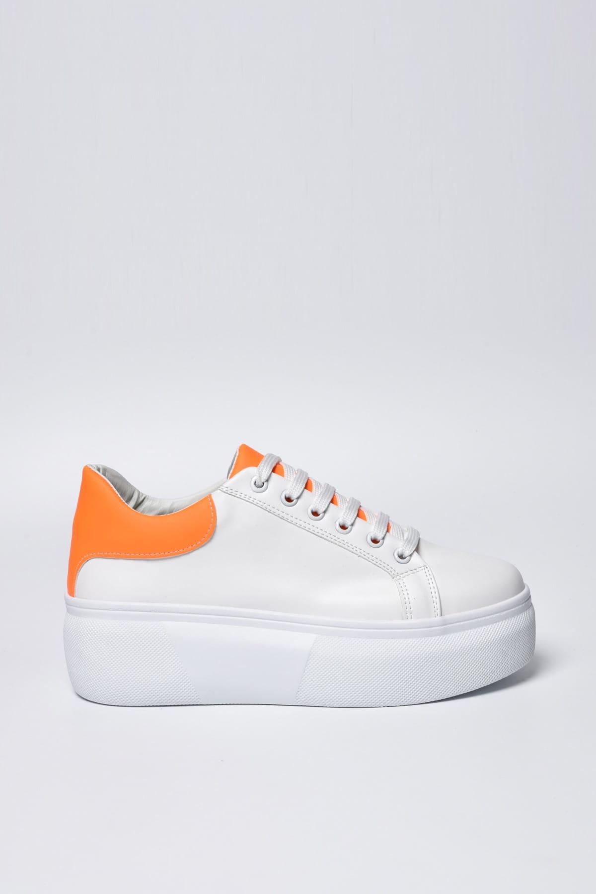 Jeep Beyaz Turuncu Neon Kadın Spor Ayakkabı 9Y2SAJ0005 1
