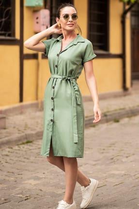 armonika Kadın Yeşil Beli Kemerli Kısa Kol Gömlek Elbise ARM-19Y001068